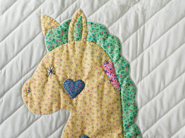 Pastel and White Hand Appliqued Rocking Horse Crib Quilt Photo 3
