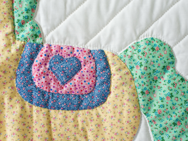 Pastel and White Hand Appliqued Rocking Horse Crib Quilt Photo 5