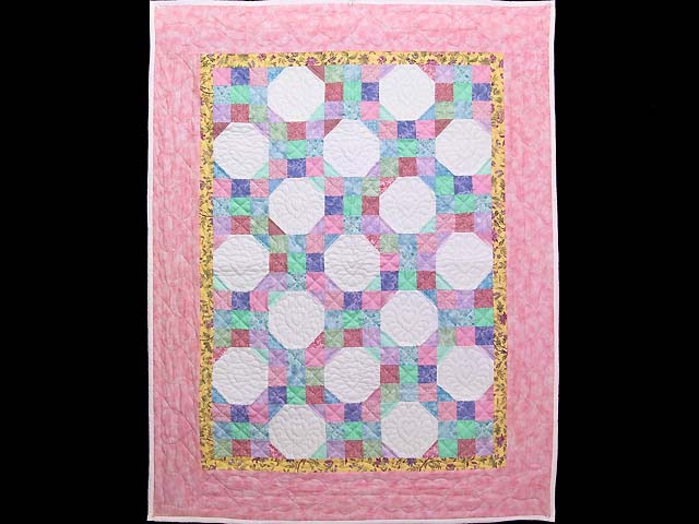 Pink, Pastel and White Nine Patch Variation Crib Quilt Photo 1