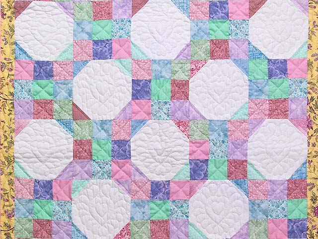 Pink, Pastel and White Nine Patch Variation Crib Quilt Photo 2
