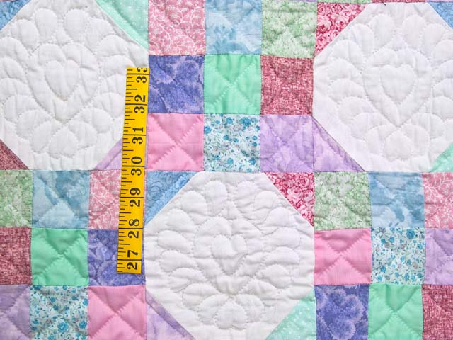 Pink, Pastel and White Nine Patch Variation Crib Quilt Photo 3