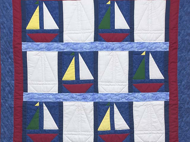 Primary Colors Sailboats Crib Quilt Photo 2