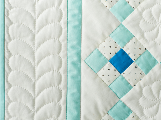 Aqua and Natural Nine Patch Quilt Photo 4
