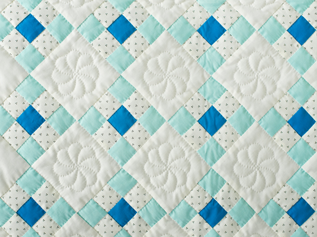 Aqua and Natural Nine Patch Quilt Photo 5