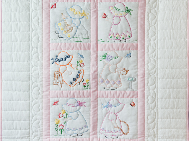 Soft Pink and White Embroidered Sunbonnet Sue Crib Quilt Photo 2