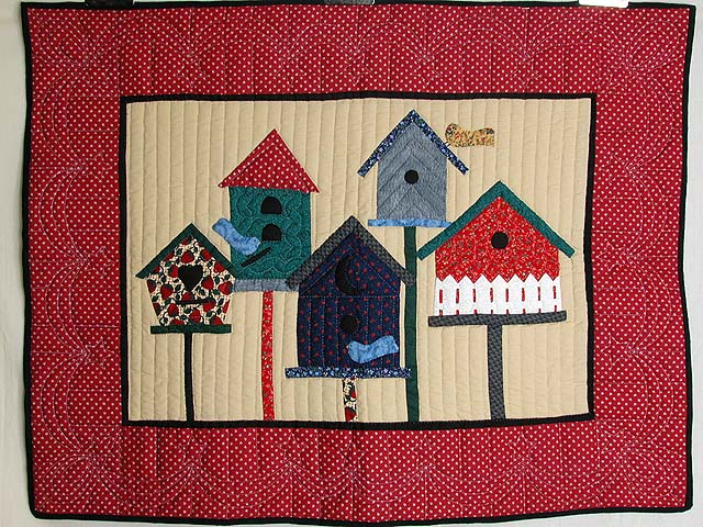Red Bird Houses Wall Hanging