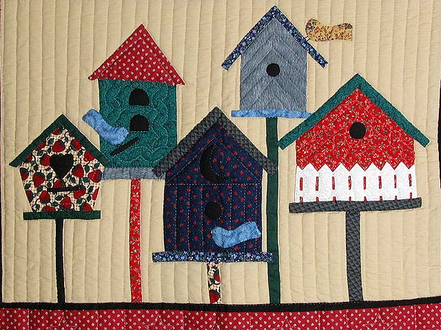 Red Bird Houses Wall Hanging Photo 2