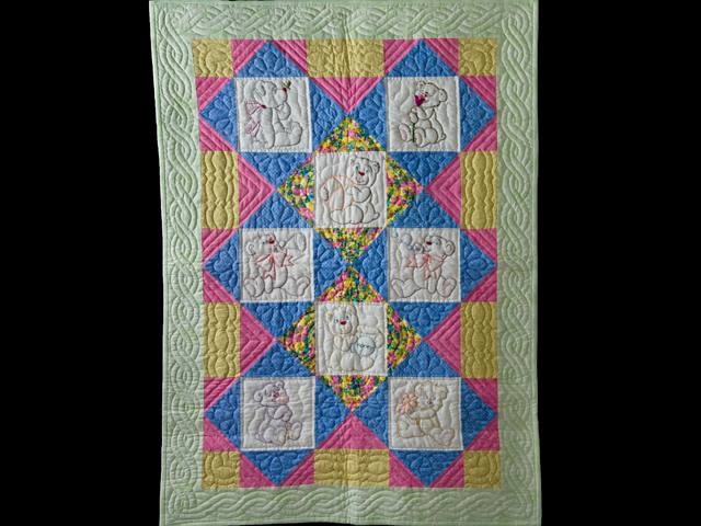 Hand Embroidered Teddy Bear Crib Quilt Photo 1