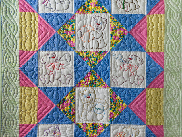 Hand Embroidered Teddy Bear Crib Quilt Photo 2
