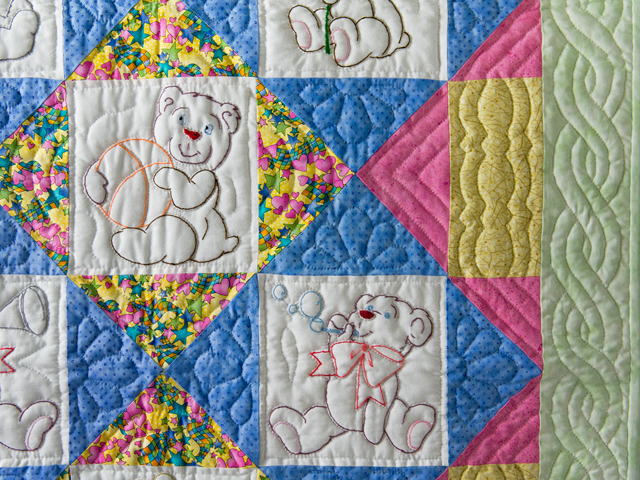 Hand Embroidered Teddy Bear Crib Quilt Photo 3
