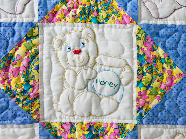 Hand Embroidered Teddy Bear Crib Quilt Photo 4
