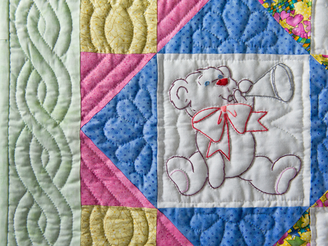Hand Embroidered Teddy Bear Crib Quilt Photo 5
