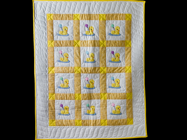Yellow and White Lucky Ducks Crib Quilt Photo 1