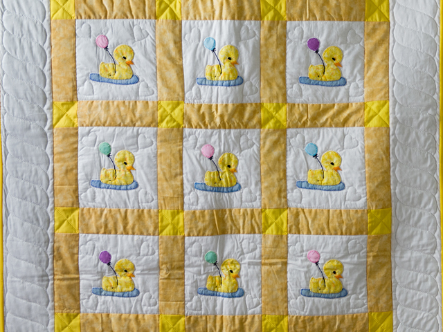 Yellow and White Lucky Ducks Crib Quilt Photo 2