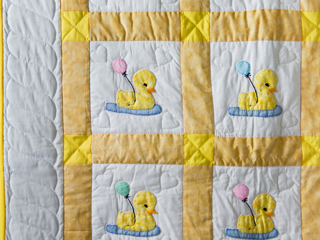 Yellow and White Lucky Ducks Crib Quilt Photo 3