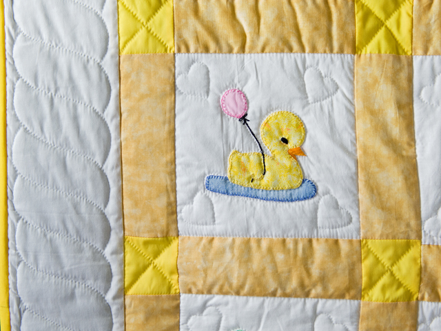 Yellow and White Lucky Ducks Crib Quilt Photo 4
