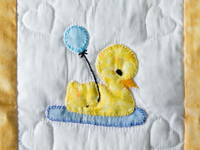 Yellow and White Lucky Ducks Crib Quilt Photo 5