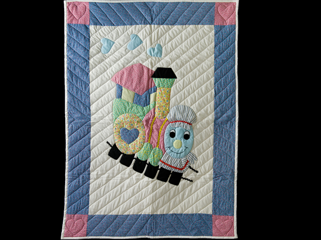Blue and Pastel Thomas Train Crib Quilt Photo 1
