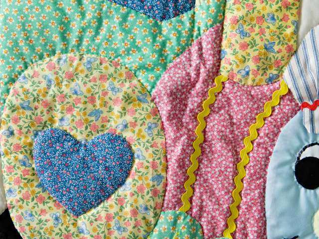 Blue and Pastel Thomas Train Crib Quilt Photo 5