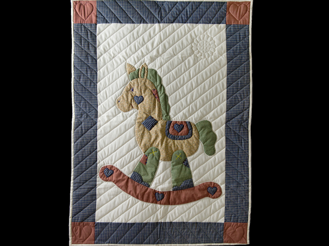 Country Blue and Red Appliqued Rocking Horse Crib Quilt Photo 1