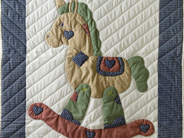 Country Blue and Red Appliqued Rocking Horse Crib Quilt Photo 2