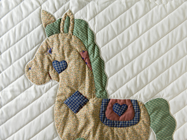 Country Blue and Red Appliqued Rocking Horse Crib Quilt Photo 3