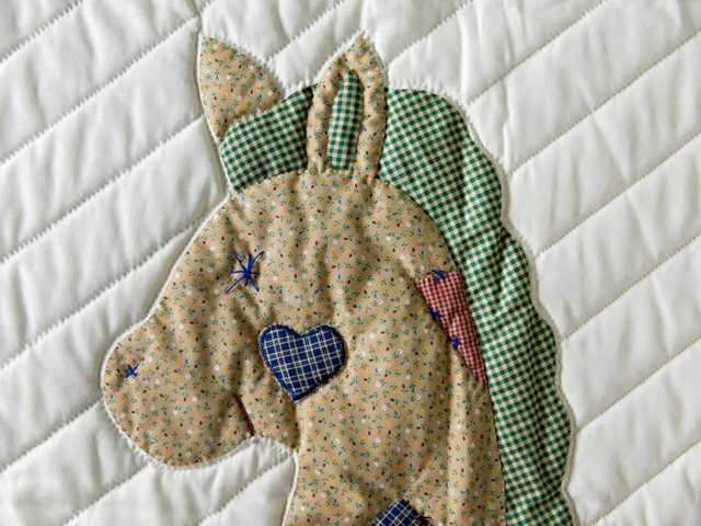 Country Blue and Red Appliqued Rocking Horse Crib Quilt Photo 4