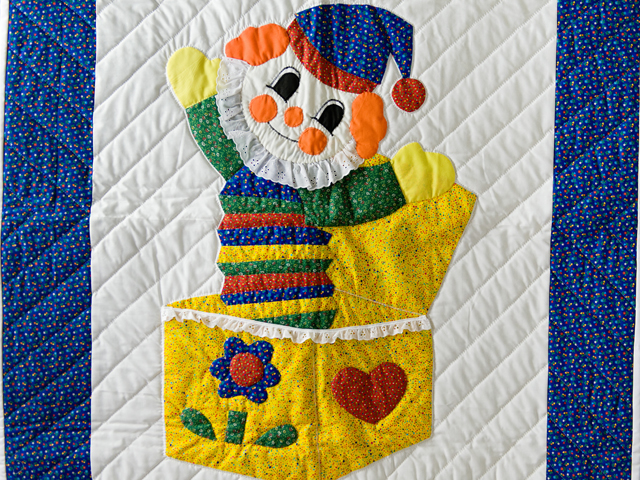 Jack In The Box Clown Crib Quilt Photo 2