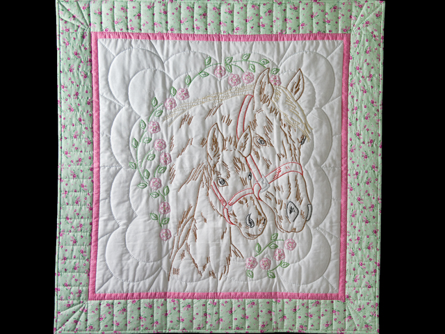 Embroidered Horses and Flowers Quilt Photo 1