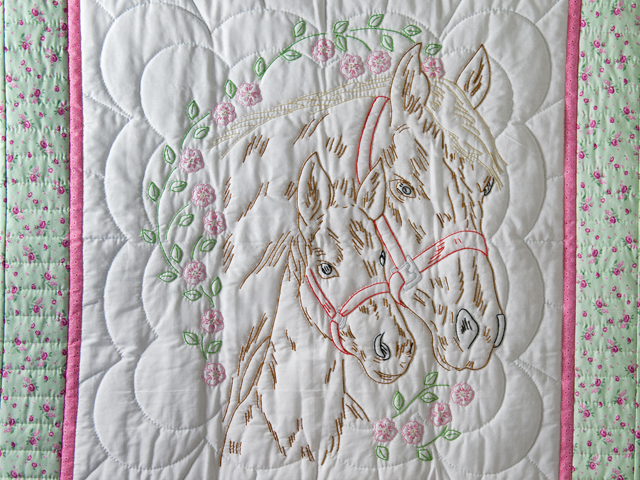 Embroidered Horses and Flowers Quilt Photo 2