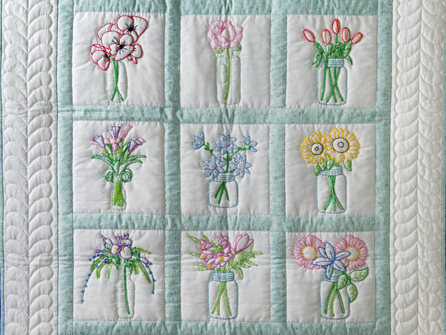 Hand Embroidered Flower Bouquet Quilt Photo 2