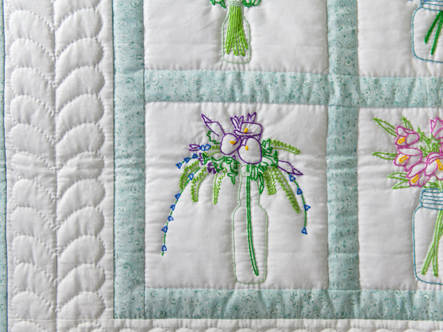 Hand Embroidered Flower Bouquet Quilt Photo 3