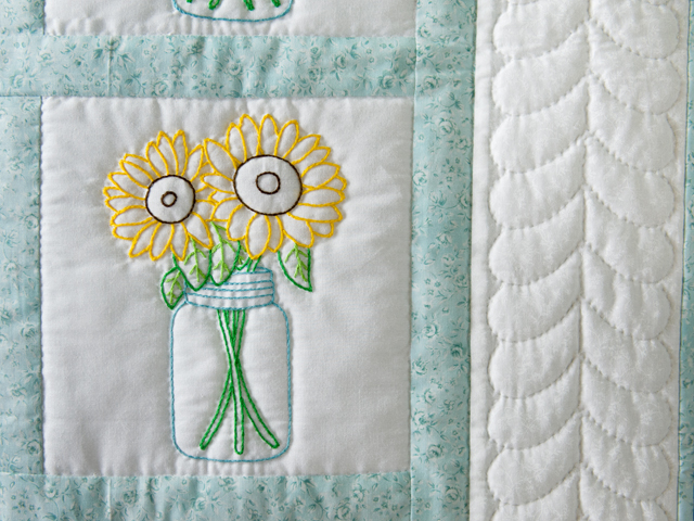 Hand Embroidered Flower Bouquet Quilt Photo 4