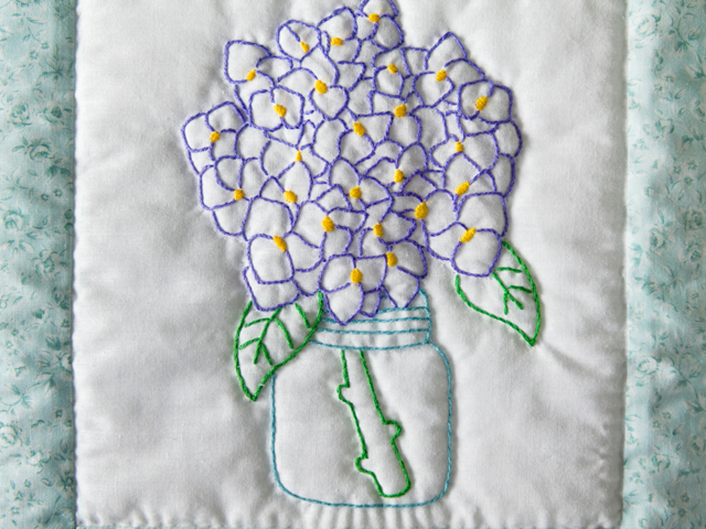 Hand Embroidered Flower Bouquet Quilt Photo 5