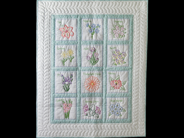 Hand Embroidered Flowers Quilt Photo 1
