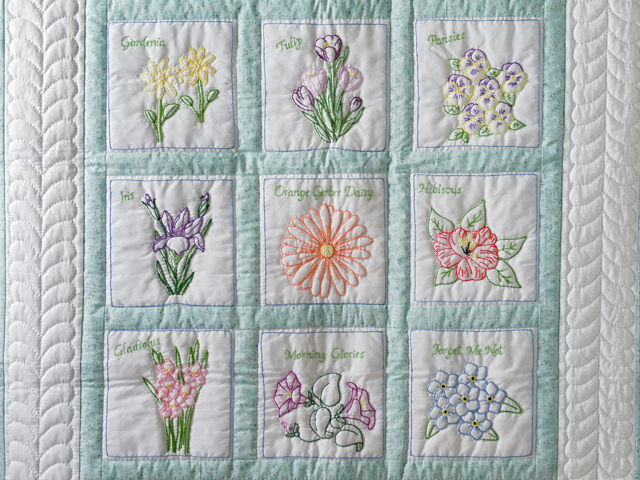 Hand Embroidered Flowers Quilt Photo 2