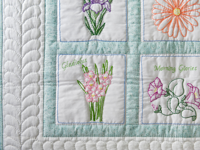 Hand Embroidered Flowers Quilt Photo 3