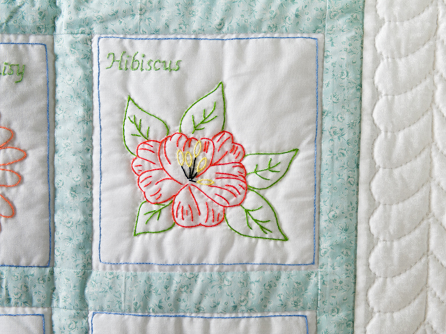 Hand Embroidered Flowers Quilt Photo 4
