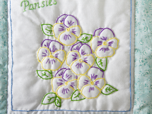 Hand Embroidered Flowers Quilt Photo 5