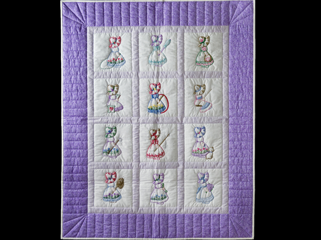 Lovely Lavender Hand Embroidered Elegant Girls Crib Quilt Photo 1