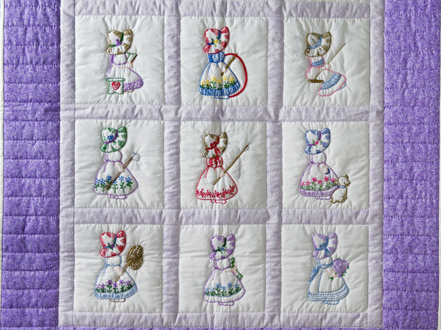 Lovely Lavender Hand Embroidered Elegant Girls Crib Quilt Photo 2