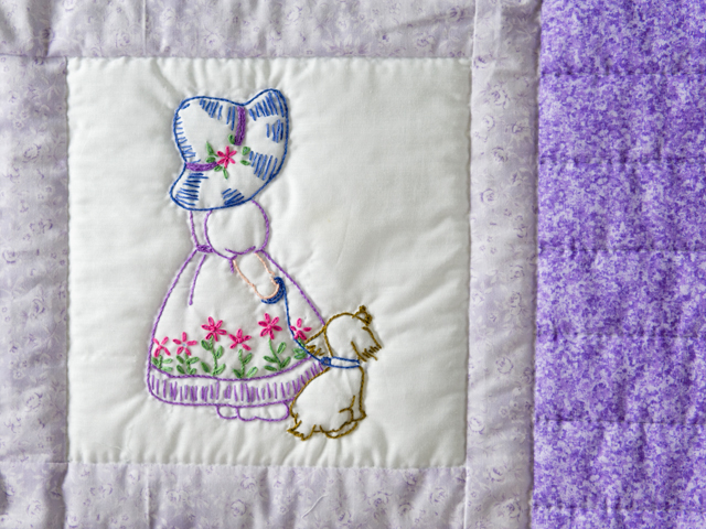 Lovely Lavender Hand Embroidered Elegant Girls Crib Quilt Photo 4