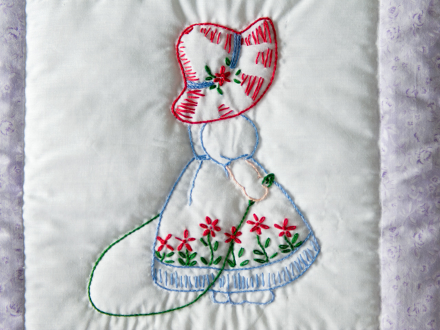 Lovely Lavender Hand Embroidered Elegant Girls Crib Quilt Photo 5