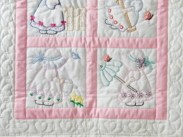 Soft Pink and White Embroidered Sunbonnet Sue Crib Quilt Photo 3