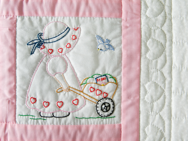 Soft Pink and White Embroidered Sunbonnet Sue Crib Quilt Photo 4