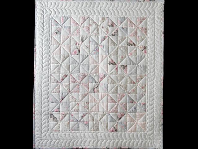 Soft Pink, Gray and White Pinwheel Crib Quilt Photo 1