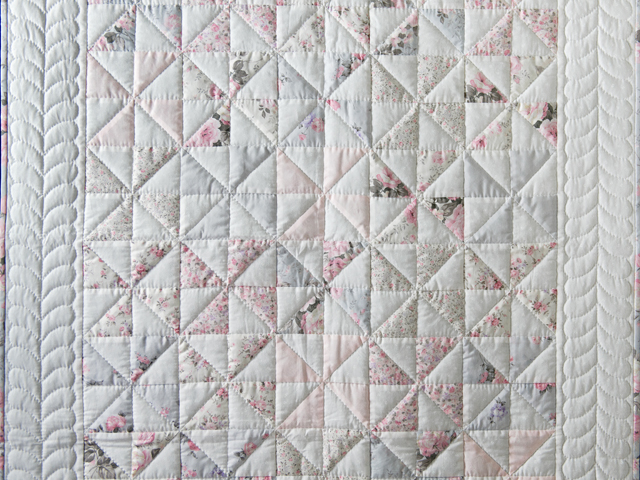 Soft Pink, Gray and White Pinwheel Crib Quilt Photo 2