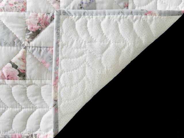 Soft Pink, Gray and White Pinwheel Crib Quilt Photo 5