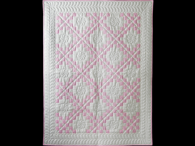 Petal Pink and White Irish Chain Quilt Photo 1