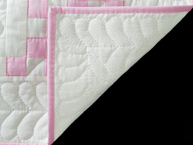 Petal Pink and White Irish Chain Quilt Photo 5